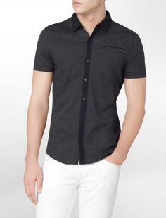 body slim fit button-front polo shirt - Polos- Calvin Klein