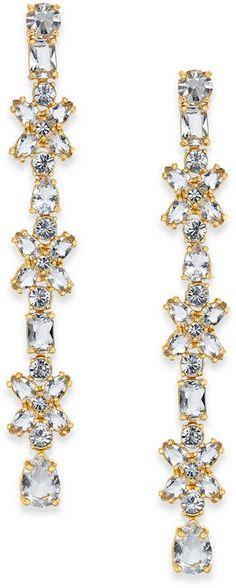 Kate Spade 14k Gold-Plated Crystal Cluster Linear Drop Earrings