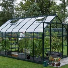 Vitavia Saturn Green Greenhouse with Horticultural Glazing and curved eaves. Buy wide Saturn Greenhouse with free autovent and Delivery. Tunnel Greenhouse, Window Greenhouse, Lean To Greenhouse, Backyard Greenhouse, Greenhouse Ideas, Homemade Greenhouse, Shed Windows, Greenhouses For Sale, Gardens