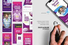 Socmed podcast stories posts keynote by rivatxfz on @creativemarket Company Presentation, Instagram Design, Instagram Story Template, Editing Pictures, Ig Story, Journal Cards, Keynote Template, Design Bundles, Social Media