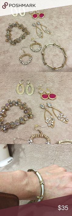Bundle of Gold Fashion Jewelry Bundle of Gold Fashion Jewelry. Includes 4 pair of earrings & 2 bracelets.   BUNDLE & SAVE!   30% off 3+ items in my closet. Jewelry
