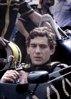 Ayrton Senna sitting in his Lotus Renault 97T at the European Grand Prix at Brands Hatch, 1985
