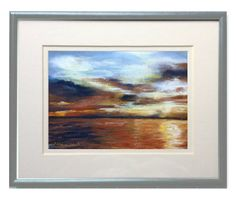 Framed Original Pastel Painting, Seattle Sunset, 7 x 5 Pastel Painting in 8 x 10 Mat and Frame