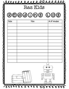 Raz-Kids reading log and Book review