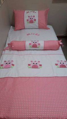Owl quilt set: Beautifully embroided cot set handmade from the best cottons. Set includes: cot bumper, quilt, mini scatter and fitted sheet (made to fit mattress 1.3m X 66cm). Follow us on Facebook:  www.facebook.com/borderboutique.co.za