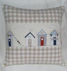 Sweet Beach Huts & Gingham Cushion Cover
