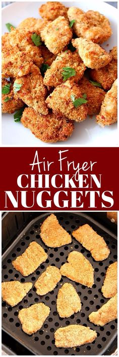Air Fryer Chicken Nuggets Recipe - healthier option for a kid-friendly dinner! Easy homemade chicken nuggets, breaded and baked in an air fryer.