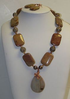 Mugger Jasper Agate Copper Necklace Earrings NICE WAY TO HANG A PENDANT