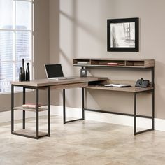 Multi-tiered, L-shaped desk offers an updated take on the typical shilhouette.