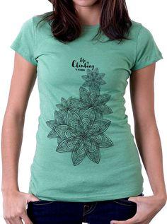 Tshirt kuana donna, maglia arrampicata donna, fiori kuana, climbing apparel, women climbing wear