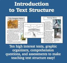Introduction to Text Structure Readers Notebook, Text Dependent Questions, Text Structures, Middle School English, Unit Plan, Digital Text, Problem And Solution, Back To School, High School