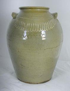 Edgefield Decorated Stoneware Storage Jar Attributed To
