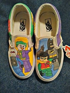 Handpainted Lego Batman on Vans shoes by ThePaintedChild on Etsy, $75.00