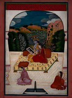 Krishna and Radha looking into a mirror - Garhwal, India (1800)