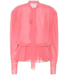 Balenciaga Lavalliere Blouse In Rose Coral Fashion, Fashion Outfits, Red Blouses, Blouses For Women, Balenciaga Top, Cool Silhouettes, Pink Long Sleeve Tops, Trends, Silk Chiffon