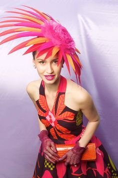 Melbourne Cup 2012 Fashions on the Field ... Chloe Moo in a design by Rawcloth and hat by Monsoon Millenary. #hats #racing