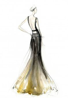 What a beautiful silhouette this gown creates. So sleek & chic. Illustrated by Jesus del Pozo.