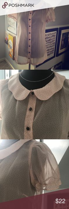 """Tatyana Pin Up Girl Secretary blouse in size S. Cutie patootie Secretary style top with scalloped collar. Gently worn and stain free. 🌸36"""" chest 🌸23.5"""" length. 🌸36"""" waist. All original buttons intact. Tatyana Tops Button Down Shirts"""