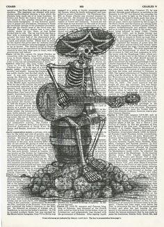 Dictionary Art Print Guitarist Skeleton on Upcycle Vintage Page Book Print Art Print Dictionary Print Collage Print by SheriDictionaryPrint on Etsy