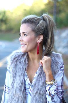Baublebar Pinata Earrings II Rails Plaid I Cupcakes and Cashmere Faux Fur Vest II AMIXOFMIN.COM