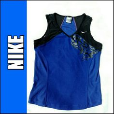 NIKE DRI FIT ROYAL BLUE/BLACK DESIGN TOP NIKE ROYAL BLUE /BLACK DESIGN DRI FIT TOP Beautiful Black Design on Front CO!it Block Black & Blue on Back Ventilation Panels on Sides 92% Polyester / 8% SPANDEX Insets.   88% Polyester / 12% Elastane Slimming Lines for FLATTERING Look. Nike Tops Muscle Tees