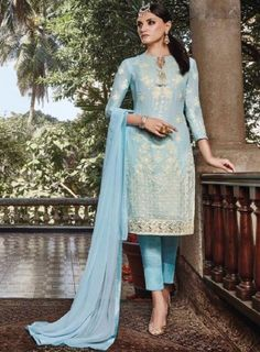 #IceBlue Casual #PantStyle #Suit Features faux georgette top with floral thread embroidery, santoon bottom with chiffon dupatta.