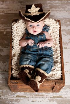 Baby Cowboy Hat and Boots Chocolate Brown And Tan , Makes Me think of Mom Lol