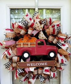Check out this item in my Etsy shop https://www.etsy.com/listing/550974691/fall-pumpkin-truck-wreath-welcome-fall