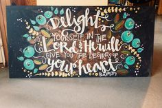 Painted quote or bible verse acrylic on wood by on Etsy. I love the font & colors Scripture Art, Bible Verses, Scripture Painting, Painting Quotes, Crafty Craft, Crafting, Diy Signs, Painting Inspiration, Diy Art