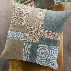 Block Print and Stone Wash Patchwork Pillow Covers - - Block Print and Stone Wash Patchwork Pillow Covers embroidery quilt ideas VivaTerra Block Print und Stone Wash Patchwork Kissenbezüge Patchwork Cushion, Patchwork Quilting, Quilted Pillow, Patchwork Ideas, Patchwork Patterns, Hand Quilting, Quilting Ideas, Patchwork Designs, Quilting Projects