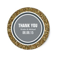 Gold Glitter & Blue Gray Thank You Label