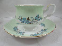 1950s Vintage English Staffordshire Green Teacup and Saucer – English Tea Cup
