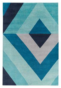 Blue Inspiration / Sybil Diamond Blue Hand Knotted Tibetan Wool Rug / The Rug Company / Jonathan Adler / Shades of Blue