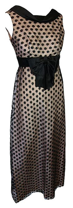 1960s clothing >dresses 60s Blanes Black Satin and Netted Cocktail Dress (UK10)