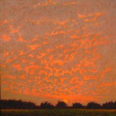 Sunset Over Orchard, oil on canvas, Rick Stevens