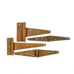 Four Rusty Barn Hinges Mismatched Collection by OldRedHenVintage
