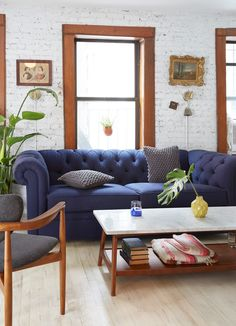 Most Design Ideas Small Living Room Layout Ideas Pictures, And Inspiration – Modern House Blue Couch Living Room, Small Living Room Layout, Small Living Room Furniture, Tiny Living Rooms, Living Room Furniture Arrangement, Colourful Living Room, Living Room Designs, Living Room Decor, Living Spaces