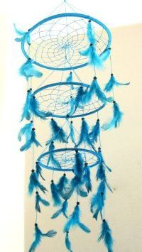 : Feather Dreamcatcher Dream Catcher Triple Dreamcatcher Blue