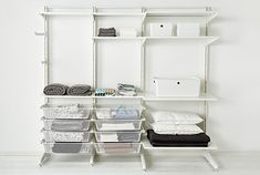 Shop for general storage solutions for your home at IKEA. Our versatile ALGOT system is designed to help with organization needs for any room in your home. Ikea Algot, Small Closet Organization, Home Organisation, Organization Ideas, Closet Bedroom, Bedroom Storage, Armoire Ikea, Ikea Wardrobe, Small Closets