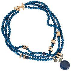 Colar Semi Joia em Jade Azul, Pingente em  Lápis Lazúli e Detalhes com Banho de Ouro 18k .