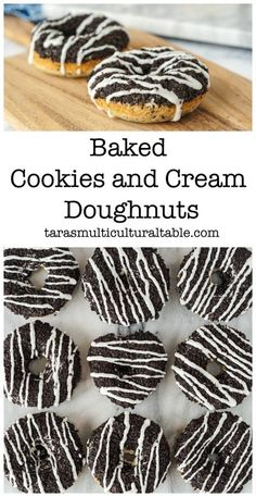 Baked Cookies and Cream Doughnuts - Tara's Multicultural Table Baked Doughnut Recipes, Baked Doughnuts, Best Dessert Recipes, Fun Desserts, Delicious Recipes, Breakfast Recipes, Oreo Donuts, No Bake Cookies, Cookies And Cream
