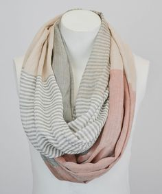 This Leto Collection Khaki Stripe & Color Block Infinity Scarf by Leto Collection is perfect! #zulilyfinds