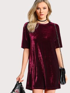 SheIn offers Crushed Velvet Tee Dress & more to fit your fashionable needs. Shift Dresses, Mini Shirt Dress, Tee Dress, Velvet Tees, Light Dress, Spandex Dress, Dress Tutorials, Urban Dresses, Everyday Dresses