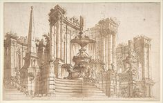 Design for a Stage Set: Semi-Circular Architectural Ruins, Fountains, and an Obelisk.