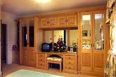 built in dressers for bedroom | Ash bedroom suite with bevelled mirrors built into wardrobe door ...