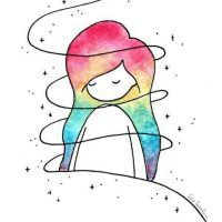 Little colorful girl - Zeichnung İdeen bleistift - Art Sketches Art Drawings Sketches, Easy Drawings, Pencil Drawings, Pencil Art, Colorful Drawings, Galaxy Drawings, Cute Drawings Of Love, Lead Pencil, Girl Drawings