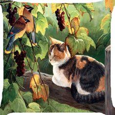Cat kitten sleep nap bird fruit tree garden 2 side pillow case cushion cover 18    eBay