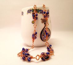 Wire Wrapped Necklace. Sapphire Blue by CraftedByJulieMarie