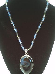 Iolite Peridot and Swarovski Crystals with an Aurora by TrinityGio, $86.00