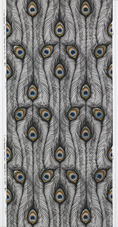 design-is-fine: Harvey Smith, sidewall Peacock Feathers, Screen printed on vinyl. Piazza Prints Inc. Via Cooper Hewitt. Textiles, Textile Prints, Textures Patterns, Fabric Patterns, Print Patterns, Peacock Art, Peacock Feathers, Peacock Colors, Surface Pattern Design